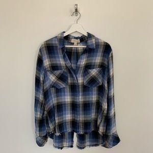 Brand new Cloth & Stone plaid shirt split back